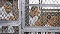 Journalism is not a crime. Al Jazzera lance à Genève un appel pour la libération de leurs 3 journalistes emprisonnés en Egypte.